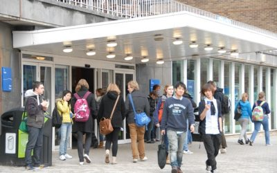 Students outside a school