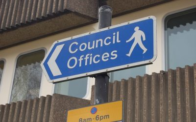 A sign saying council offices