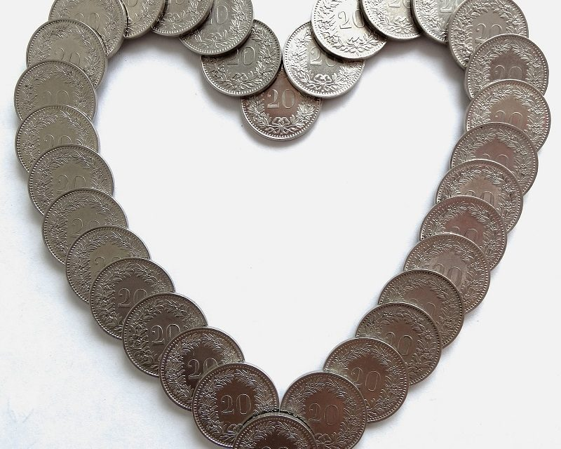 A heart of coins