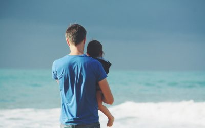 A man holding a child