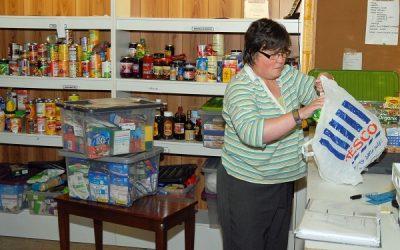 A woman at a food bank