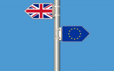 A union jack and EU flag