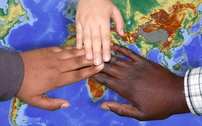 Three hands touching