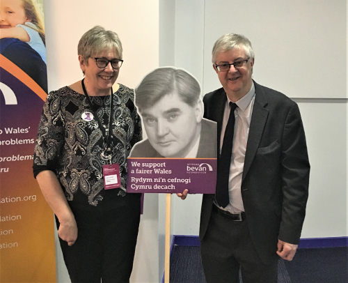 The First Minster Mark Drakeford AM with our Nye Bevan placard.