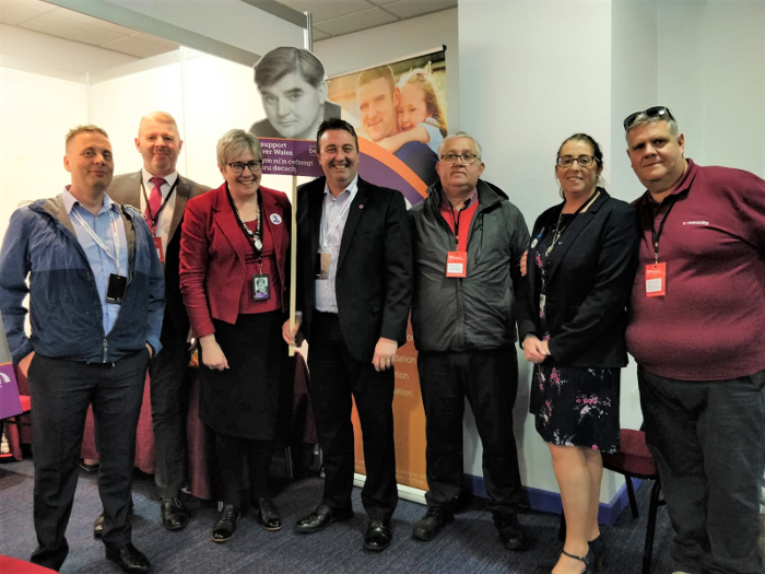 Visitors with our Nye Bevan placard at the Welsh Labour conference 2019