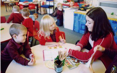 Children and teacher working in a classroom
