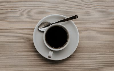 A black coffee on a table