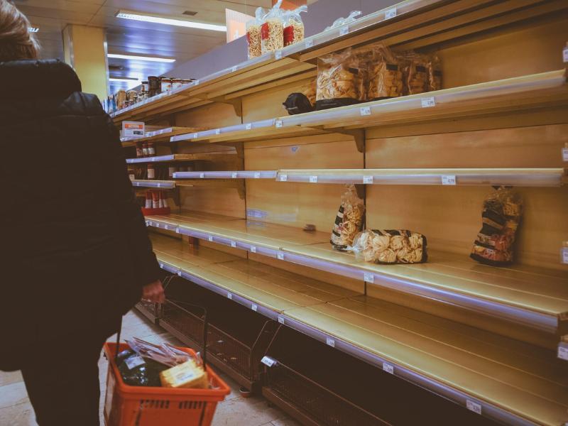 Empty shelves after panic buyin