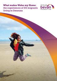 Girl jumping on Swansea beach