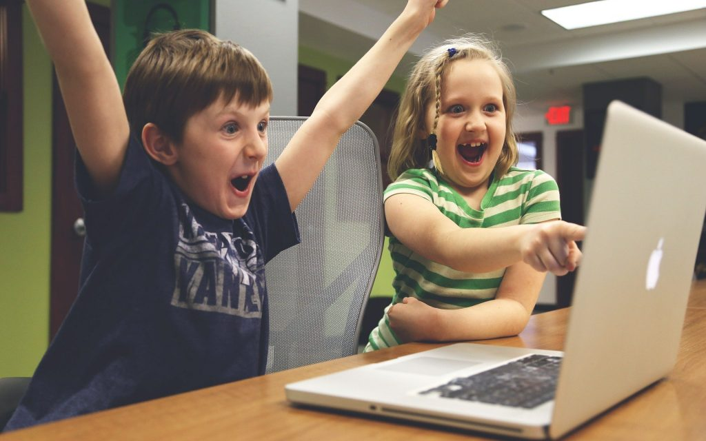 Children at a laptop
