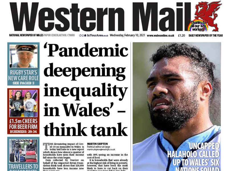 A photo of the Western Mail front apge