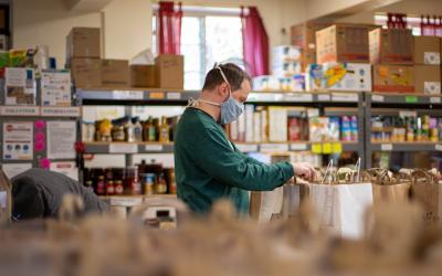 A man at a food bank
