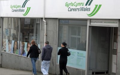 People walking past a job centre