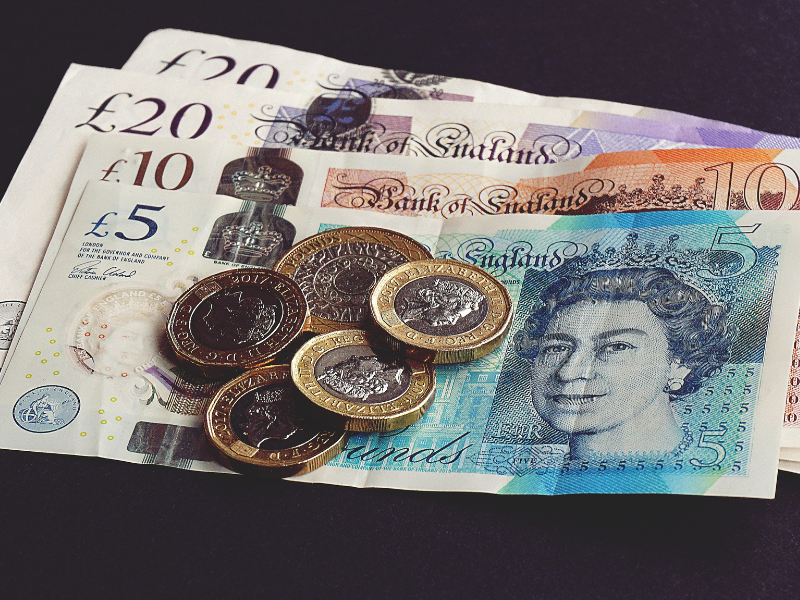Some pound notes and coins