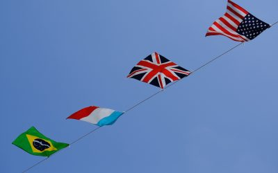 Some flags fluttering