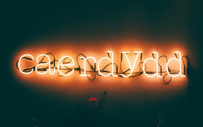 A glowing neon sign