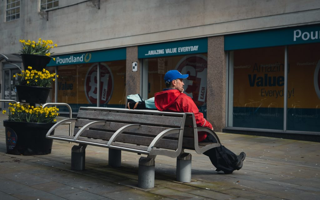 A man sitting on a bench
