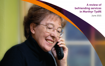 Woman talking on the phone to befriending service