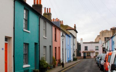 A street of colourful houses